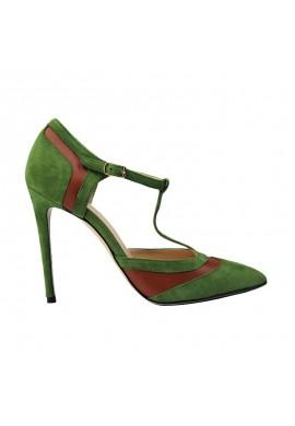 Decoltè bicolore Verde Pistacchio/Marrone